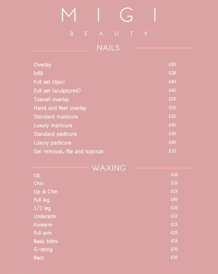 Migi Beauty Price List